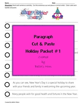 Paragraph Cut & Paste Holiday Packet #1