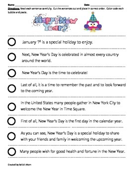 Paragraph Cut & Paste: New Year's Day
