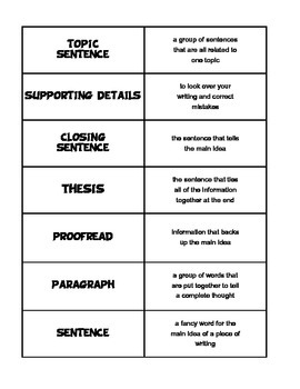 Paragraph Definition Cards by JennyG