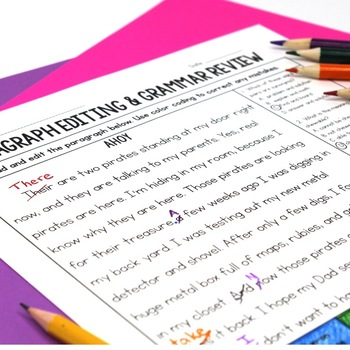 Paragraph Editing - Task Cards, Worksheets, and More!
