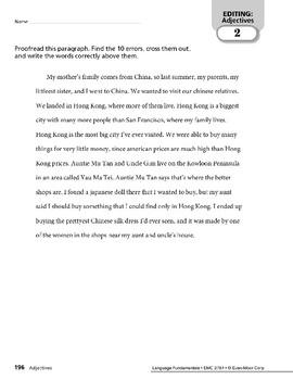 Paragraph Editing: Nouns & Adjectives