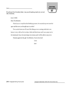 Paragraph Editing: Punctuation in Letters