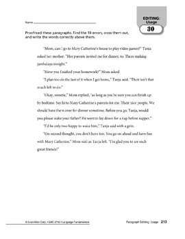 Paragraph Editing: Usage