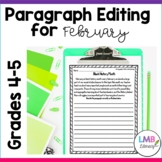 February Writing: Paragraph Editing Worksheets for Grades 4-5