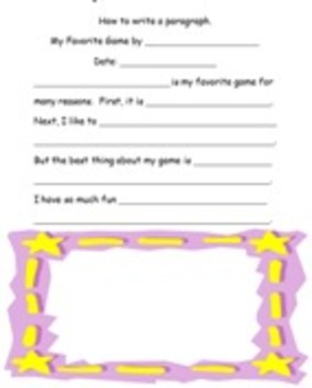 Paragraph Frame - My Favorite Game