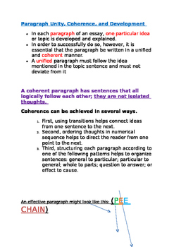 Paragraph Information and PEE Chain