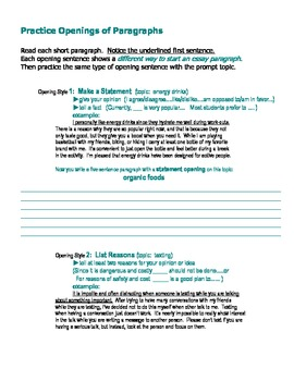 Paragraph Openings-- Student Practice