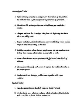 Paragraph Ordering Sentence Manipulatives