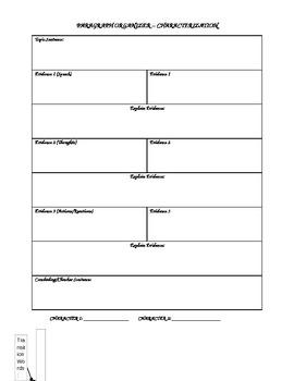 Paragraph Organizer - Character Analysis