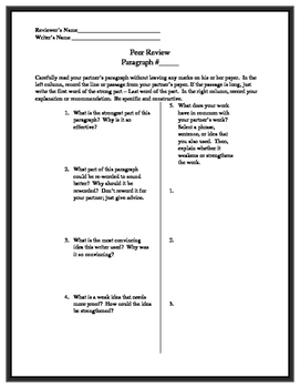 Paragraph Peer Review Worksheet