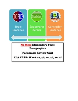 Paragraph Pizazz - No More Elementary Style Paragraphs ELA CCSS W.6-8.2