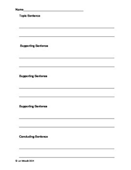 Paragraph Planning Page - Topic/Detailes/Supporting/Concluding Sentences
