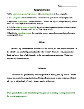 Paragraph Practice Worksheet, Elementary Paragraph Writing, Writing Center