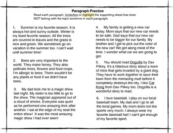 Paragraph Practice (find the off topic sentence)