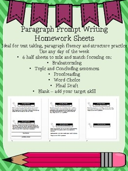 Paragraph Prompt Writing Homework Sheets