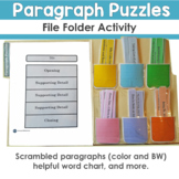 Paragraph Puzzles File Folder Activity and More