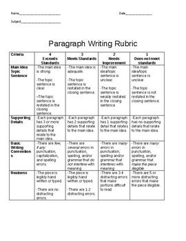 Paragraph Rubric