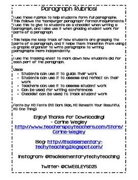 Paragraph Rubric + Paragraph Class Grade book