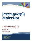 Paragraph Rubrics Package (for writing paragraphs in all subjects)