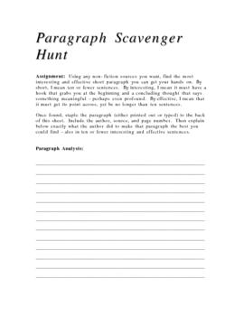 Paragraph Scavenger Hunt