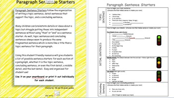 Paragraph Sentence Starters for students
