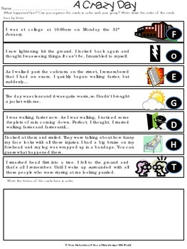 Past Continuous and Past Simple Texts & Verbs Paragraph Sequencing
