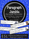 Personal Recounts, Past Tense Verbs Paragraph Sequencing