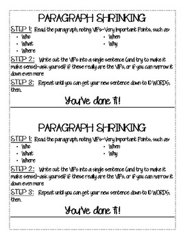 Paragraph Shrinking Steps Cue Card Bookmark