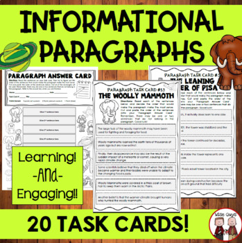 Paragraph Structure Activity 20 Task Cards