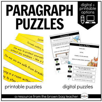 Paragraph Structure Puzzles 1st Amp 2nd Grade Writing Tpt