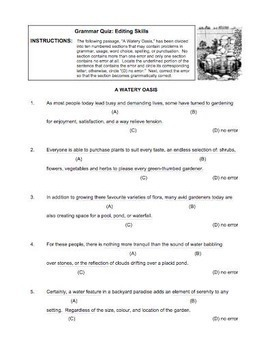 Paragraph Text Grammar Quiz (Watery Oasis)