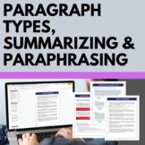 Types of Paragraphs Handouts, Summarizing and Paraphrasing