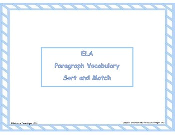 Paragraph Vocabulary Sort and Match