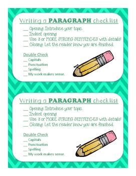 Paragraph Writer's Checklist