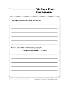 Paragraph Writing Across the Curriculum: Math