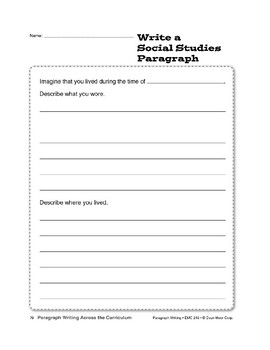 Paragraph Writing Across the Curriculum: Social Studies
