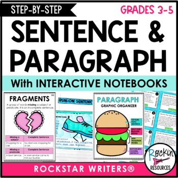 Rockin Resource's Paragraph Writing and Sentence Structure product for download - How to Write a Paragraph and Sentences, with interactive notebooks for grades three to five