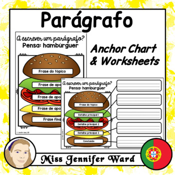 Paragraph Writing Anchor Chart and Worksheets in Portuguese