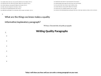 Reading, Note-taking, and Paragraph Writing / Mid-Unit assessment
