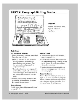 Paragraph Writing Center: Picture Cards