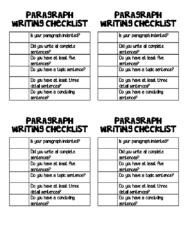 paragraph writing checklist by learning with miss lagrow tpt. Black Bedroom Furniture Sets. Home Design Ideas