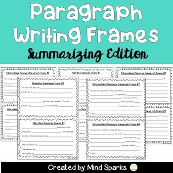 Paragraph Writing Frames (Summarizing Edition)