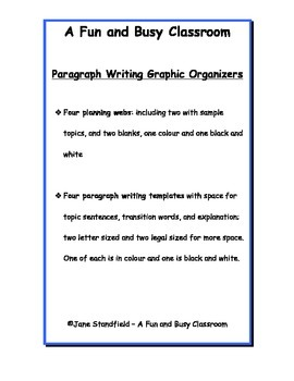 Paragraph Writing Graphic Organizers- webs and templates