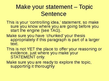 Paragraph Writing Guide - Body of Essay or Stand alone