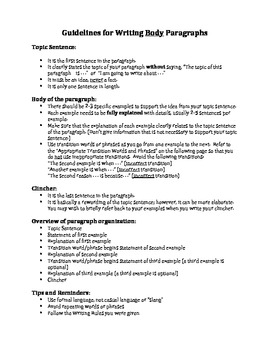 Paragraph Writing Guidelines