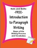 Paragraph Writing Introduction: Steps of Writing Process & Vocabulary FREE