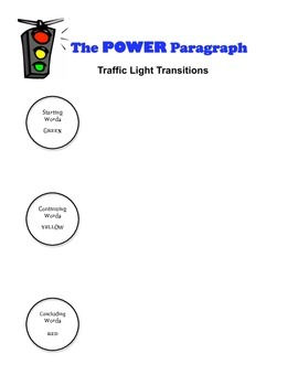 Paragraph Writing: Power Paragraph & Traffic Light Transition Words
