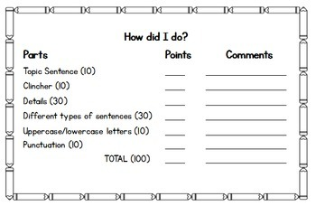 Paragraph Writing Rubric Freebie: Grades 2-3