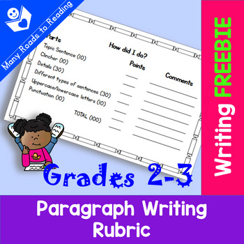Paragraph Writing Rubric Freebie: Grades 2-3
