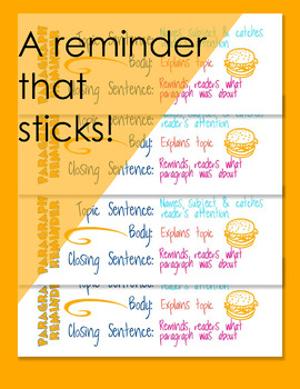 Paragraph Writing Sticker for Writing Assessment